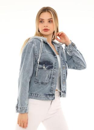 Джинсова куртка з капішоном жіноча 🇹🇷2 фото