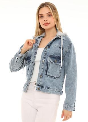 Джинсова куртка з капішоном жіноча 🇹🇷6 фото