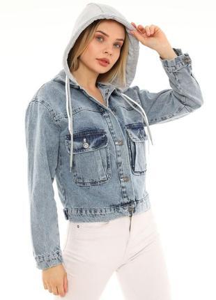 Джинсова куртка з капішоном жіноча 🇹🇷3 фото