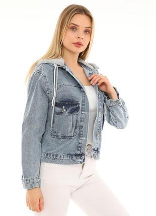 Джинсова куртка з капішоном жіноча 🇹🇷5 фото