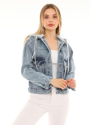 Джинсова куртка з капішоном жіноча 🇹🇷7 фото