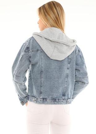 Джинсова куртка з капішоном жіноча 🇹🇷4 фото