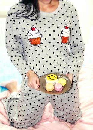 Серая пижама капкейки домашний костюм