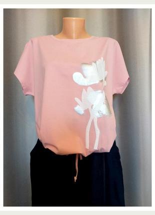 """Брендовая женская футболка """"кувшинка"""" розовая"""