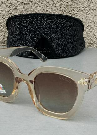 Gucci очки женские солнцезащитные коричневые в бежевой прозрачной оправе поляризированые