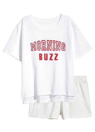 Пижама, топ и шорты h&m morning buzz 34/xs, 36/s