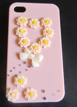 Эксклюзивный чехол для iphone 4 и 4s сердце из цветов, новый