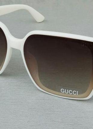 Gucci очки женские солнцезащитные молочные линзы коричневые с градиентом