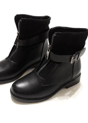 Черные зимние женские ботинки (сапоги), материал эко-замш + эко-кожа
