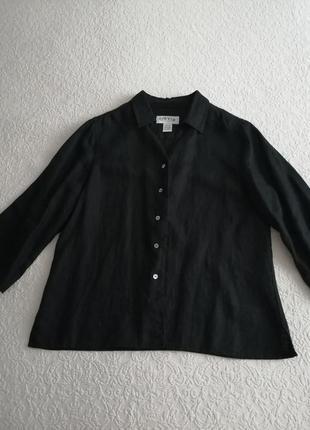 Льняная блуза чёрная orvis плотный лён