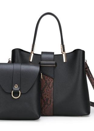 Кожаная женская сумка с принтом змеи 2 в 1
