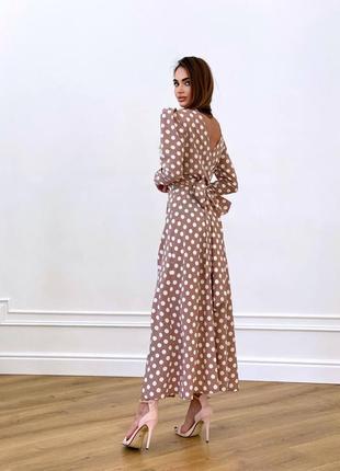 Вечернее платье миди беж в горошек