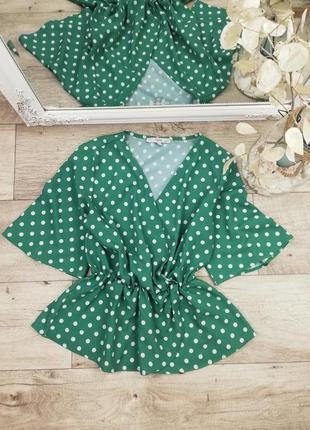 Шикарная фирменная блуза в горошек с рюшем по низу next