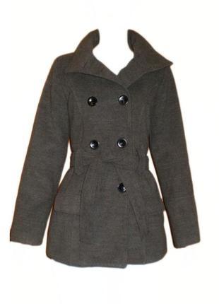 Пальто 70% шерсть италия, шерстяное приталенное пальто с поясом