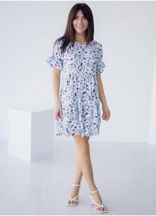 Свободное платье в цветочек с рюшами, літня сукня