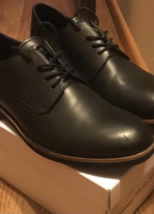 Туфли мужские calvin klein, черные, кожаные,42 размер