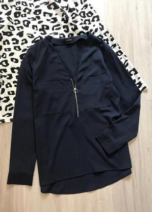 Сорочка блуза топ кофта з замочком / однотонная рубашка с карманами на замке с кольцом
