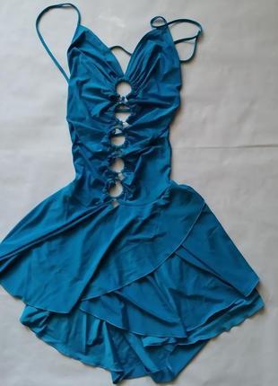 Платье женское летнее открытое синее