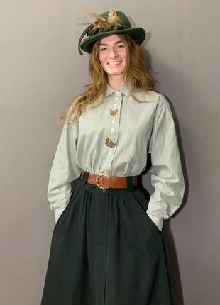 Винтажная австрийская рубашка/блуза вышивка уточки