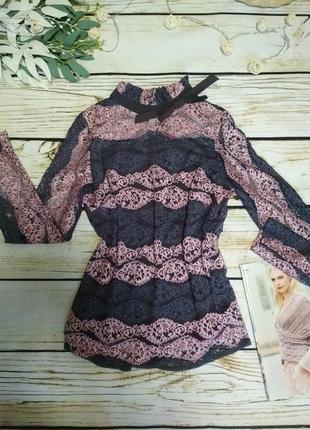 Блузка ажурная блуза гипюровая с рукавом