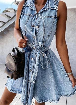 Бомбезна джинсова сукня жен