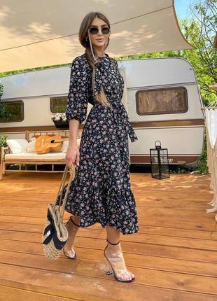 Шикарное платье  миди  с цветочным принтом