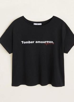 Черная футболка mango / m