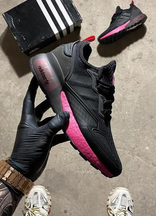 Женские кроссовки adidas zx 2k boost core black shock pink.