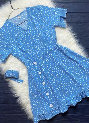 Платье с м голубое в сердечки на невысокий рост летнее мини