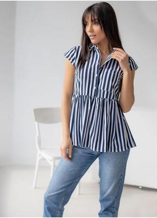Рубашка блузка в полоску, летняя блузка