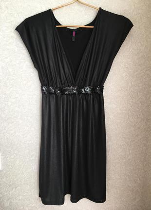 Чёрное, красивое нарядное платье, s размер