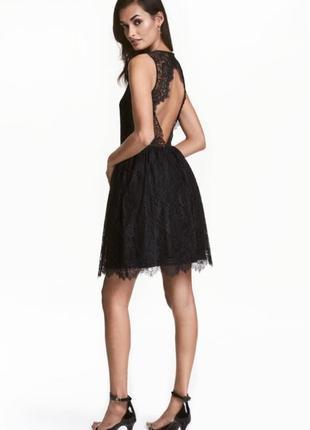 Элегантное нарядное кружевное платье h&m с открытой спинкой, размер s-m