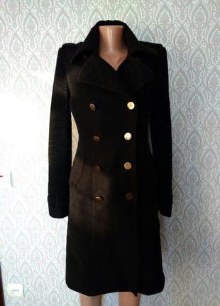 Черное базовое длинное пальто осень-весна mango