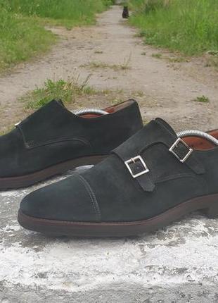 Круті шкіряні чоловічі туфлі,  лофери santoni double monk 11166