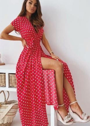 Великолепное платье макси длинное на запах в горошек3 фото