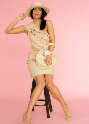 Ефектна красива сукня, плаття міні з рюшами і оголеним плечем турция