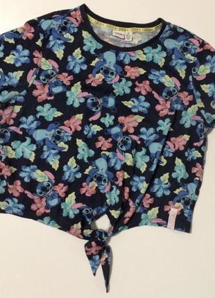 Женская футболка лило и стич футболка с завязками большой размер l xl