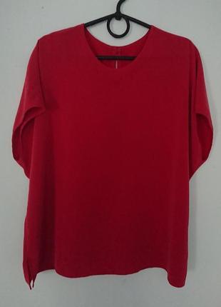Красивая шелковая блуза/летняя футболка, модель oversize3 фото