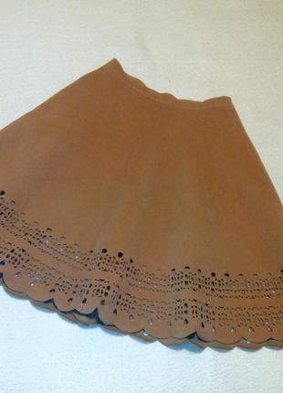 Бежевая юбка искусственный замш с перфорацией
