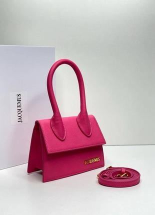 Кожаная сумка jacquemus розовая