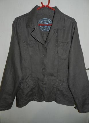 Льняной жакет-пиджак-куртка,мокко,милитари,большого размера,cecil