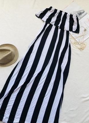Длинное платье в полоску из вискозы missguided