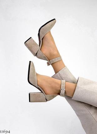 Туфли босоножки натуральная замша кожа