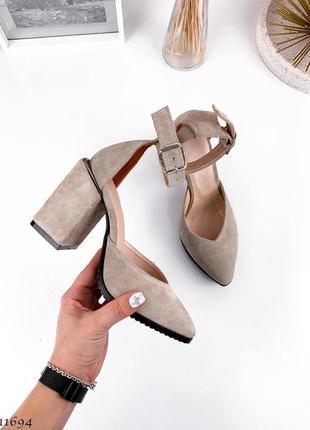 Туфли босоножки натуральная замша кожа3 фото
