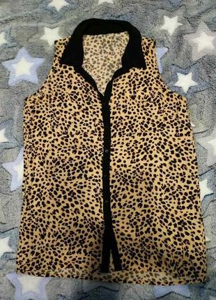 Блуза  аменриканка,с  леопардовим принтом,h&m