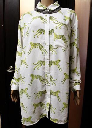 Крутая удлиненная шифоновая рубашка с гепардами