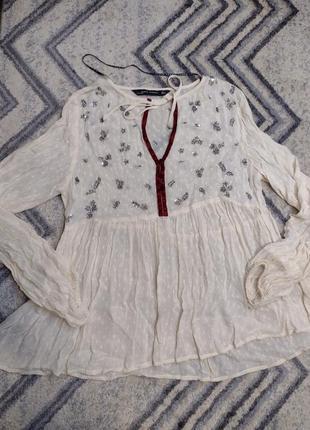 Шикарная праздничная блузка zara