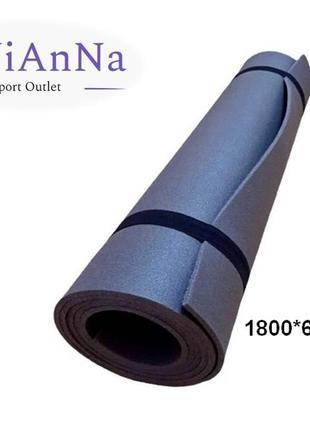 Фітнес килимок lavianna gray фитнес коврик каремат турестический 1800*600*5 мм