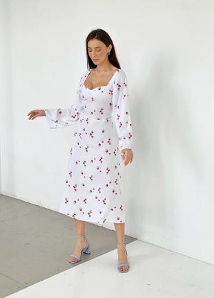 Белое нарядное вечернее платье миди в цветочный принт