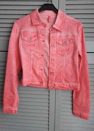 Куртка кораловая, джинсовая, стильная курточка